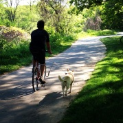 David out cruising with his Husky mix Daisy.