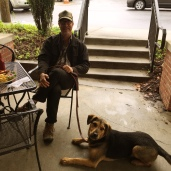 David practicing a down stay request with Residency guest Sy at a neighborhood restaurant-- let's get your dog cafe ready!